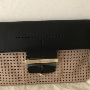 "Ann Taylor ""Perforated Envelope"" Leather Clutch"